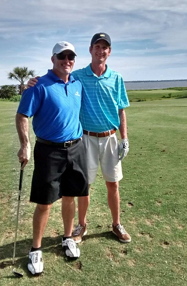 Kevin Dixon, Winyah Pharmacy, and Matthew Stanley, Preferred Care Pharmaceutical Services, at the golf tournament.