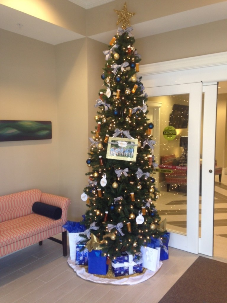 The Christmas tree decorated and donated by Guardian Pharmacy of Jacksonville employees.