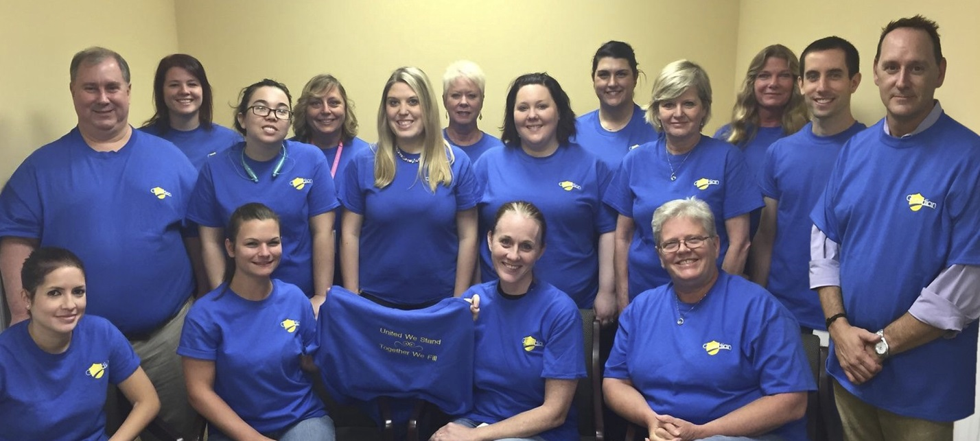 Guardian Pharmacy of NWFL staff members in their T-shirts for Casual Day.