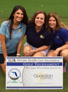 Georgina Leininger, Guardian Pharmacy of Jacksonville; Ali Wiggins, Guardian Pharmacy of NWFL; and Debi Schulman, Guardian Pharmacy of SWFL working the Longest Drive Competition at the tournament.