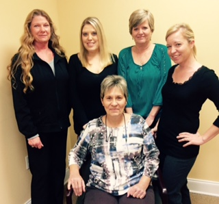 From l to r:  Patricia Nichols, Sara Winterberger, Diane Stanley, Carey Williams. Seated: Sue Garrett.