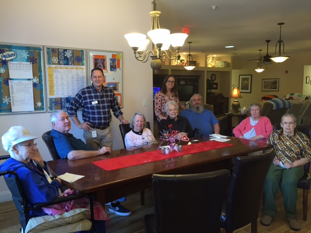 From l to r: Thelma; Dave; Bobby Dunn, president/owner of Guardian NWFL; Dottie; Myrtle; Ali Wiggins, director of sales and marketing; Joe; Betty; and Kay.