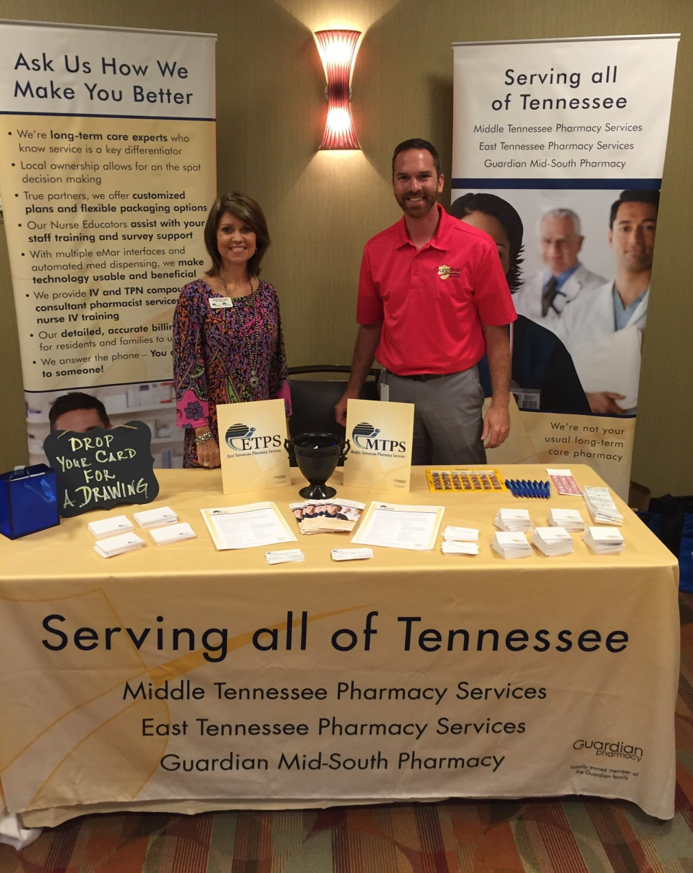 Sherry Nix, sales and account manager at MTPS and ETPS, and Ben Clark, sales and marketing manager at Guardian Pharmacy Mid-South, at the Tennessee Alliance for Children and Families 12th Annual Education and Leadership Conference.