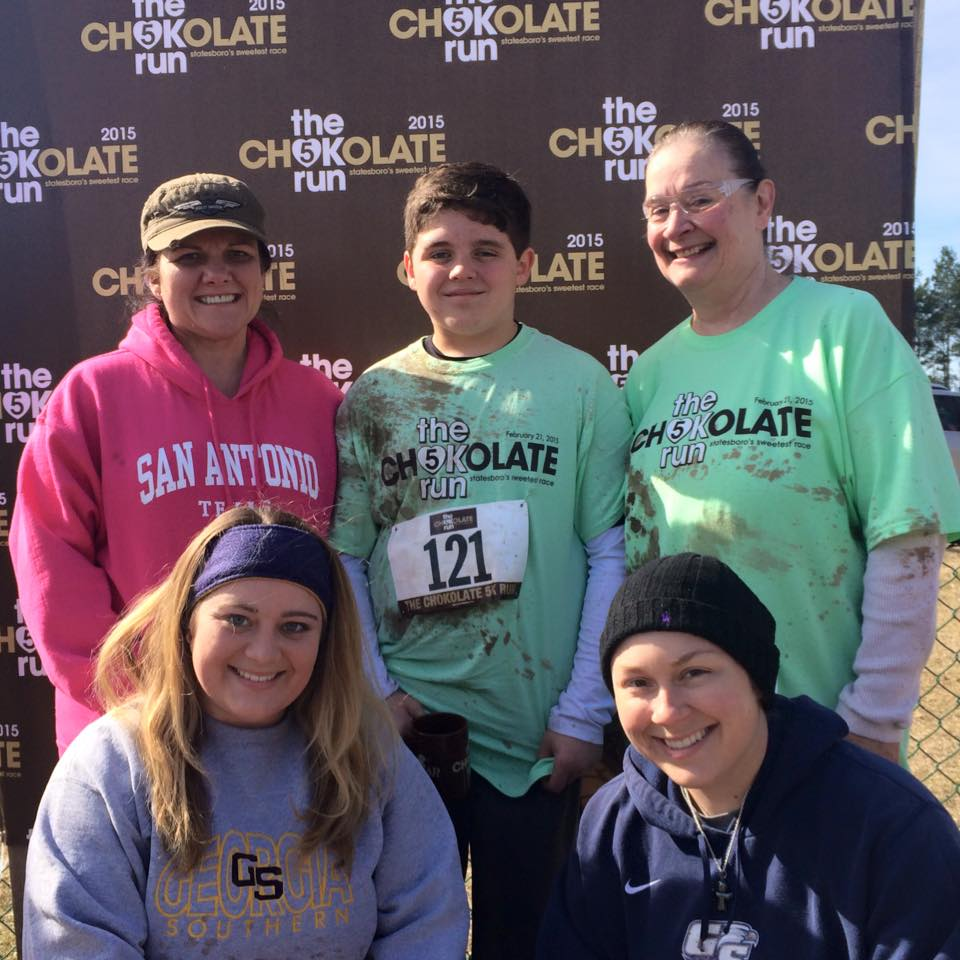"""Top l to r: Jodi DiNello, Dylan DiNello, Pam Martin, Haley Anderson and Mackenzie Williams enjoyed their time at The Chocolate Run, one of the """"sweetest"""" 5Ks they've ever participated in."""