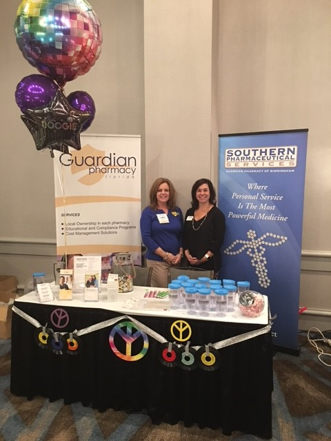 Co-Marketing at the ALAA Conference by Southern Pharmaceutical Services and Guardian Pharmacy of Northwest Florida. Shown: Ali Wiggins of NW Florida & Tess Davis of SPS
