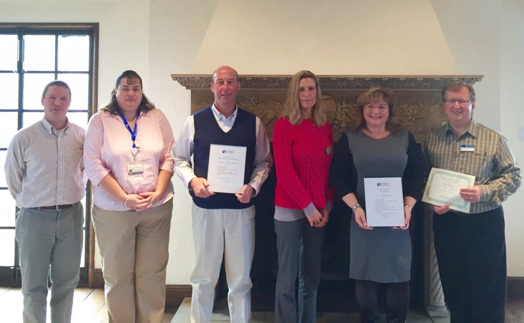 From l to r: Matt Lessard, president of ACHCA; Waltz employees Michelle Andrews, Dean Jacobs, Tracey Taylor, Julie Howland and Phil DuBois.