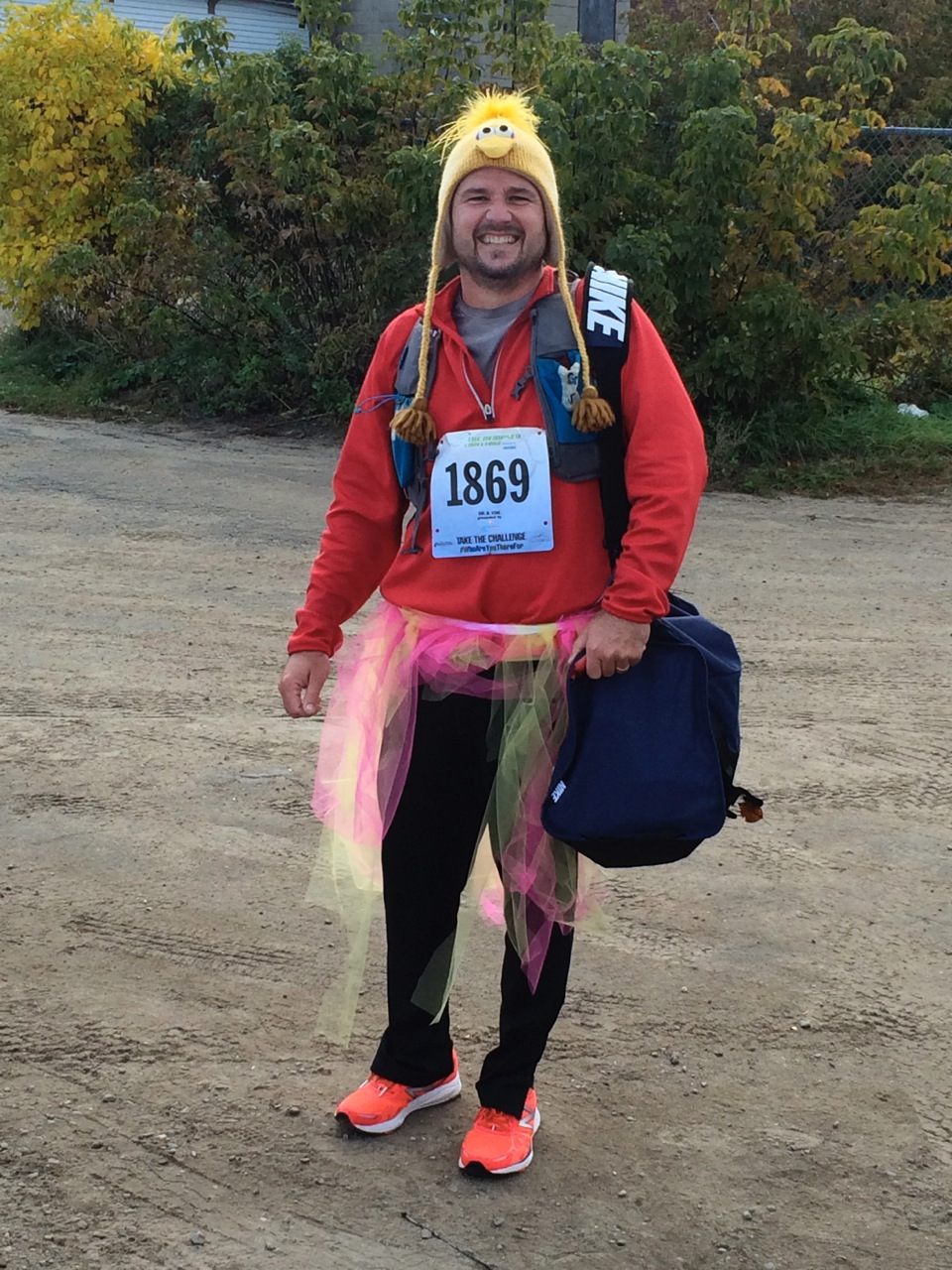 Michael Cushing sporting a colored tutu at the event.