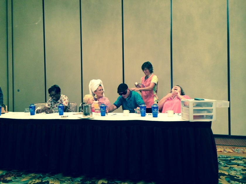 From l to r: Winyah's own Stephanie Spear, Dede Richardson, Kevin Dixon, Jeanine Blakely and Susan Lecklitner become Willie Mae, Norma Jean, Frank-Frank, The Nurse and Geraldine during a fun skit on medication management.