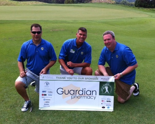 From l to r: Kevin Kleva, David Whitlock and Rich Eakins enjoy Brookdale's 5th annual Golf to End Alzheimer's Event.