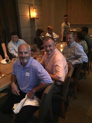Presidents, sales and support services enjoyed a delicious fried chicken dinner at Watershed in Atlanta Wednesday night. [from l to r: Kevin Dixon, sales manager at Winyah Pharmacies in Georgetown, SC and Charlotte, NC; Russ Spivey, co-president at Guardian Mid-South in Memphis, TN; and Chad Downey, VP, treasurer * internal audit at the Support Services Office in Atlanta.]